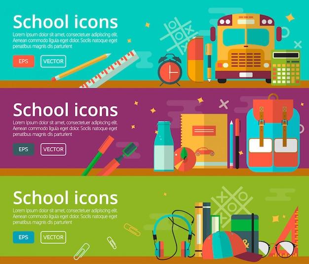 Design piatto vettoriale di banner di concetti di educazione Vettore Premium