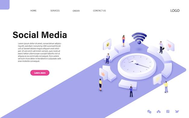 Design piatto vettoriale isometrica. concetto di social media Vettore Premium