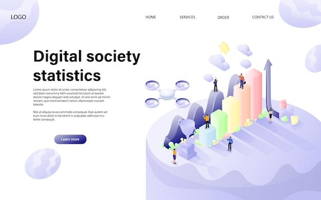 Design piatto vettoriale isometrica. concetto di statistiche digitali Vettore Premium