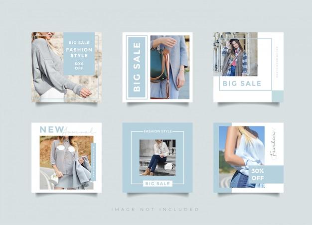 Design post instagram o modello quadrato banner per negozio di moda negozio Vettore Premium