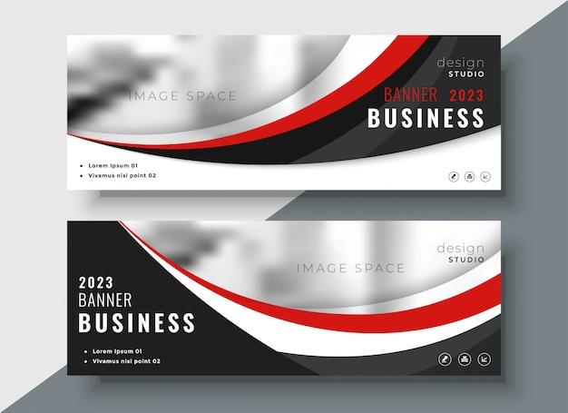 Design professionale di banner business rosso e nero Vettore gratuito