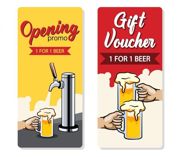 Design promozionale del buono birra gratuito. Vettore Premium