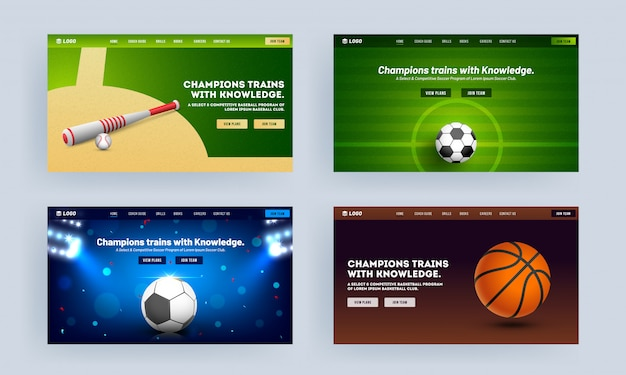 Design reattivo della landing page con mazza da baseball, calcio e basket realistici per champion trains with knowledge. Vettore Premium
