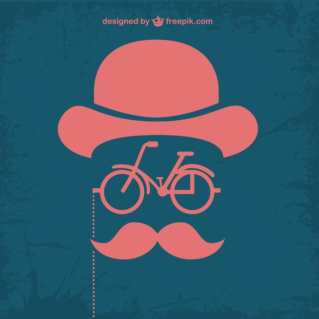 Design retrò bicicletta retrò pantaloni a vita bassa Vettore gratuito