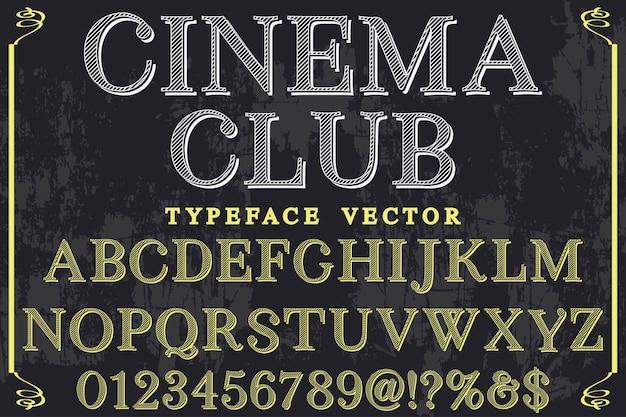 Design retrò etichetta font club cinema Vettore Premium