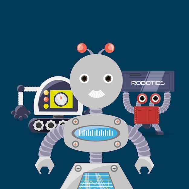 Design robotico con robot dei cartoni animati scaricare vettori