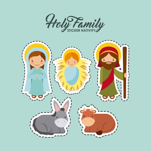 Design sacra famiglia Vettore Premium
