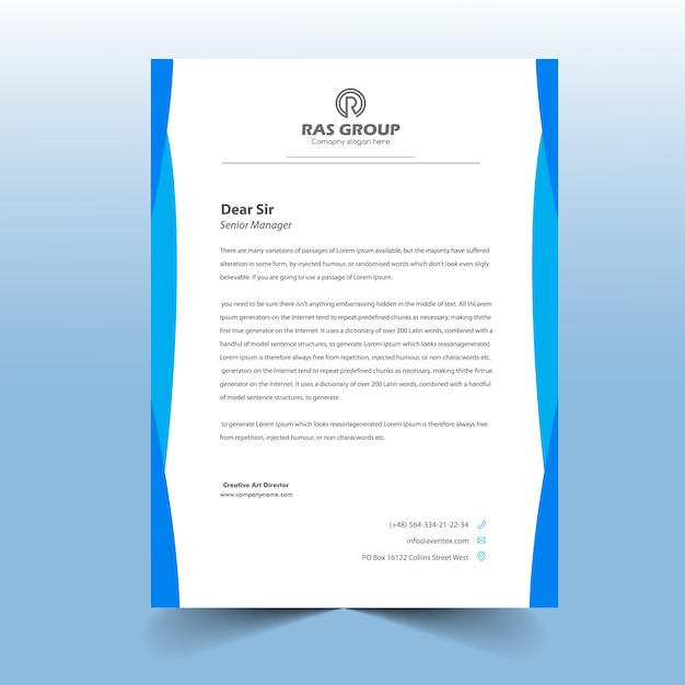 Design semplice della lettera della lettera blu Vettore Premium