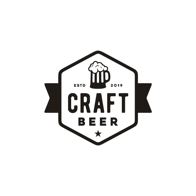 Design semplice logo birra artigianale retrò Vettore Premium