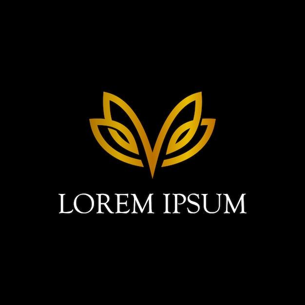 Design semplice logo farfalla linea arte Vettore Premium