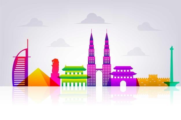 Design skyline colorato punti di riferimento Vettore gratuito