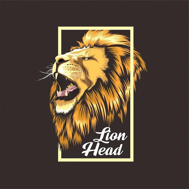 Design t-shirt lion Vettore Premium