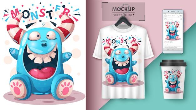 Design t-shirt pazzo mostro Vettore Premium