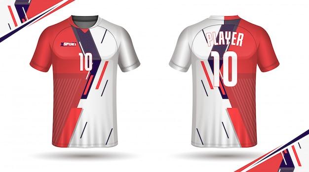 Design t-shirt sportiva modello calcio jersey Vettore Premium