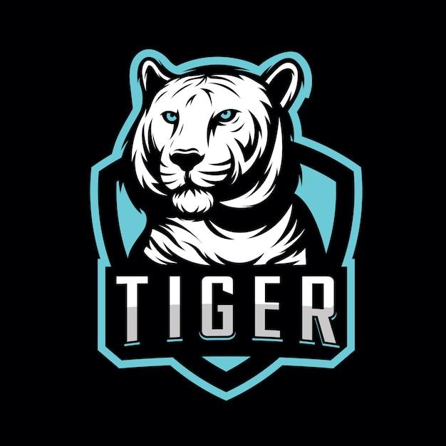 Design tiger sport logo per lo sport di gioco Vettore Premium