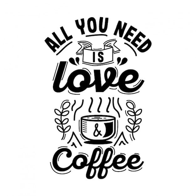 Design tipografia caffè con stile vintage Vettore Premium