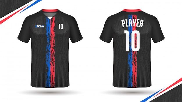 Design tshirt sportiva modello maglia calcio Vettore Premium
