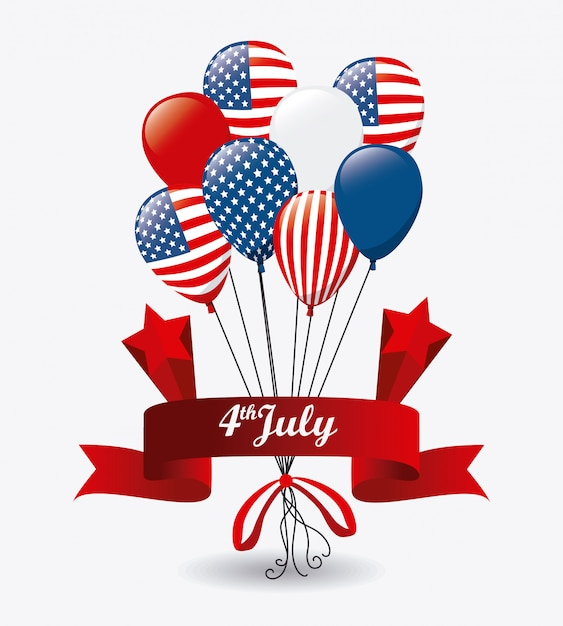 Design usa. independence day 4 luglio Vettore gratuito