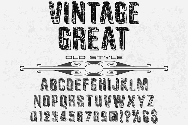 Design vintage carattere tipografico alfabeto ottimo Vettore Premium