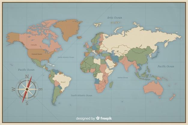 Design vintage colorato per mappa del mondo Vettore gratuito