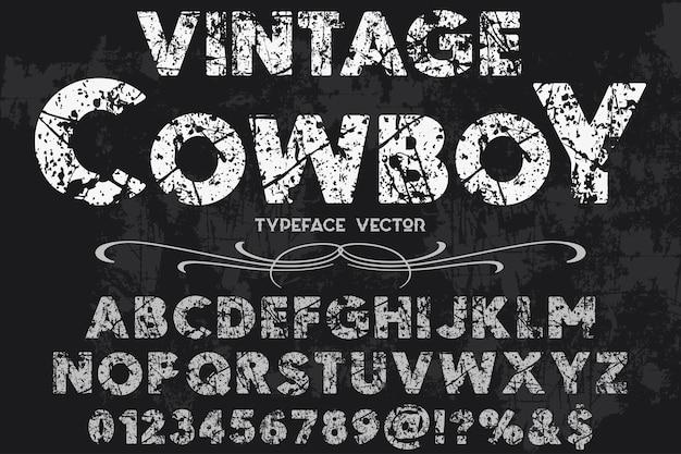 Design vintage label cowboy alfabeto Vettore Premium
