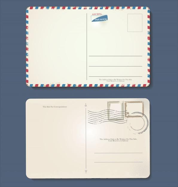 Design vintage retrò cartolina vuota grunge Vettore Premium