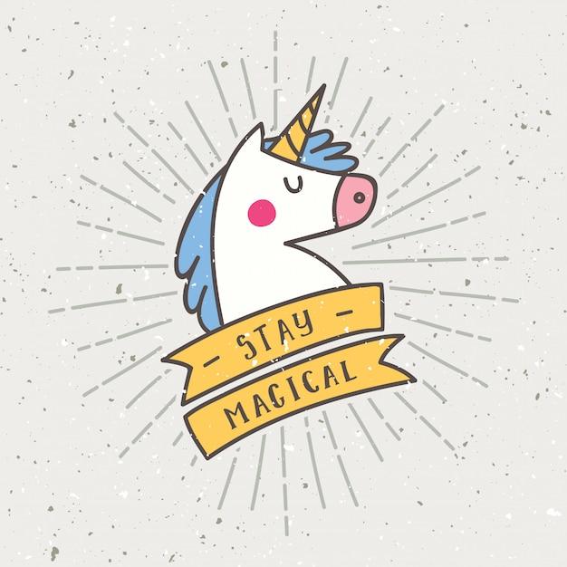 Design vintage t-shirt con slogan in unicorno Vettore Premium