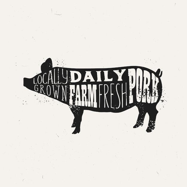 Design vintage tipografia maiale, modello di poster di maiale fresco di fattoria. Vettore Premium