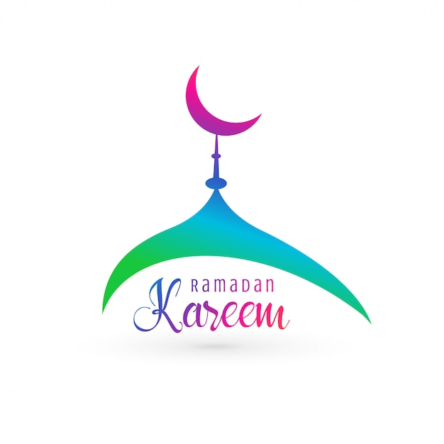 Design vivace moschea per ramadan kareem Vettore gratuito
