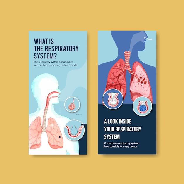 Design volantino respiratorio con anatomia umana del polmone e cure sane Vettore gratuito