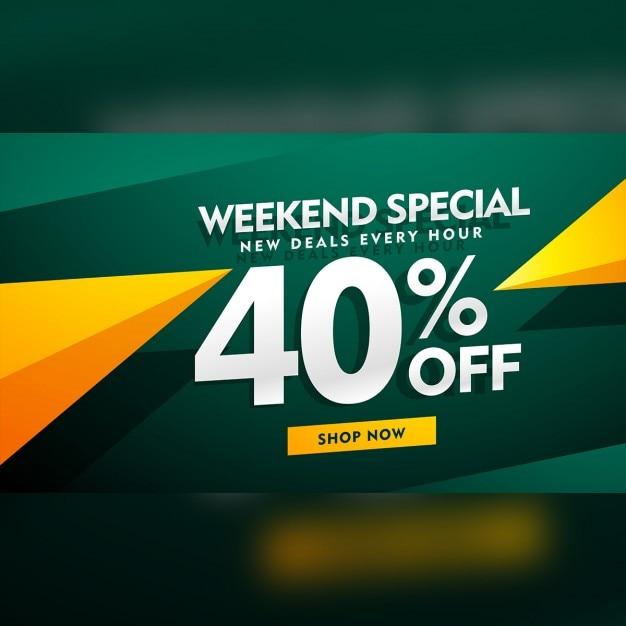 Design week-end speciale bandiera di vendita in colore verde e giallo Vettore gratuito