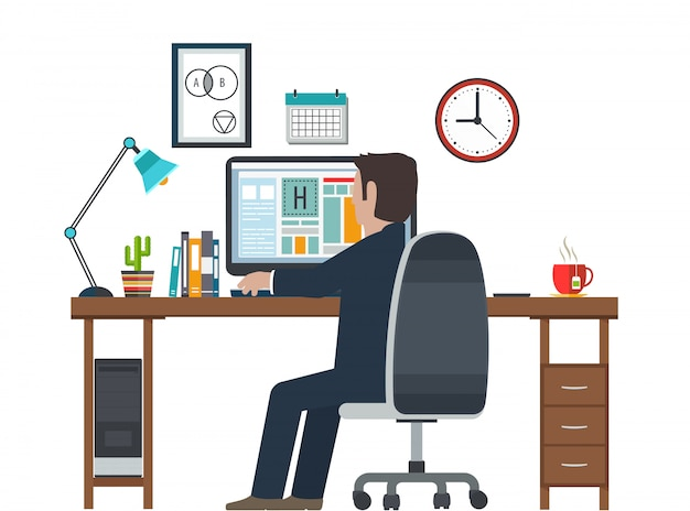 Designer sul posto di lavoro, workstation. attrezzatura creativa nell'interno dell'ufficio. Vettore Premium