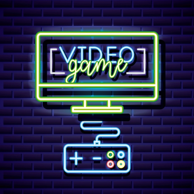 Desktop e controllo, videogioco neon stile lineare Vettore gratuito