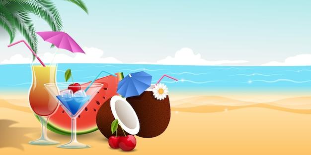 Dessert di frutta dolce, fetta di anguria e ciliegie Vettore Premium