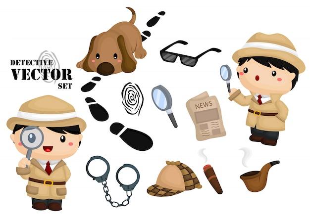 Detective image set Vettore Premium