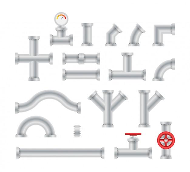 Dettagli tubi diversi tipi di raccolta della costruzione della valvola del gas industria tubo dell'acqua. Vettore Premium