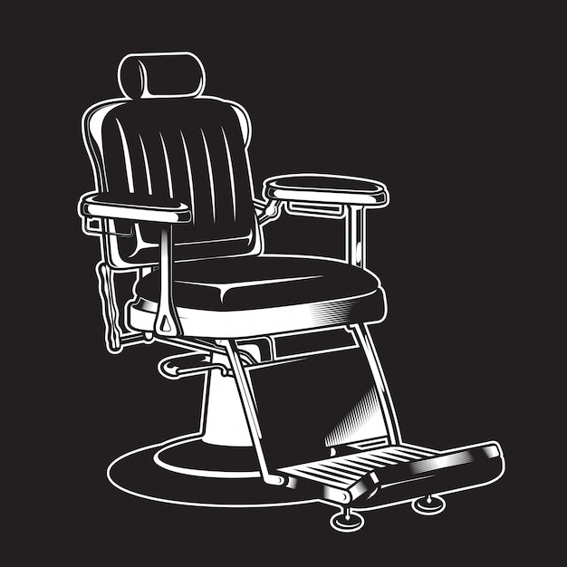 Dettagliato isolato dell'annata della sedia del barbiere Vettore Premium