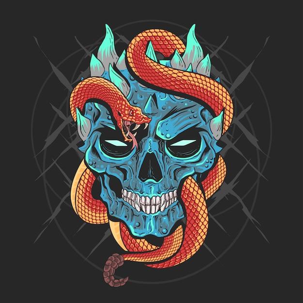 Dettaglio di skull head punk e snake artwork vector con strati editabili buon Vettore Premium