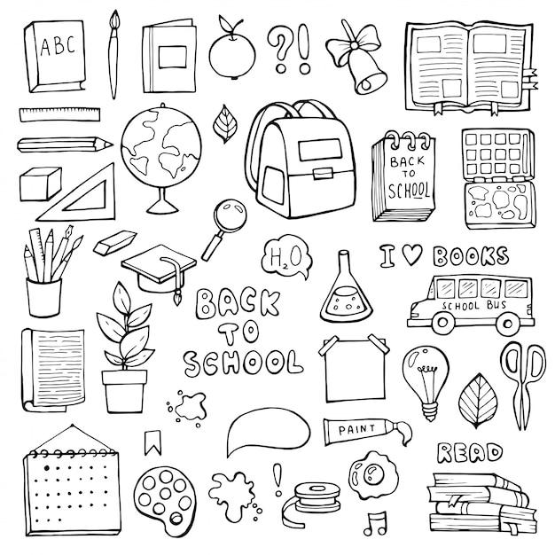 Di nuovo a scuola. articoli di istruzione. Vettore Premium