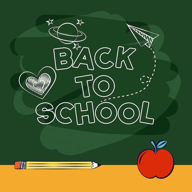 Di nuovo a scuola in un'aula della tabella una matita un'illustrazione aplee Vettore gratuito