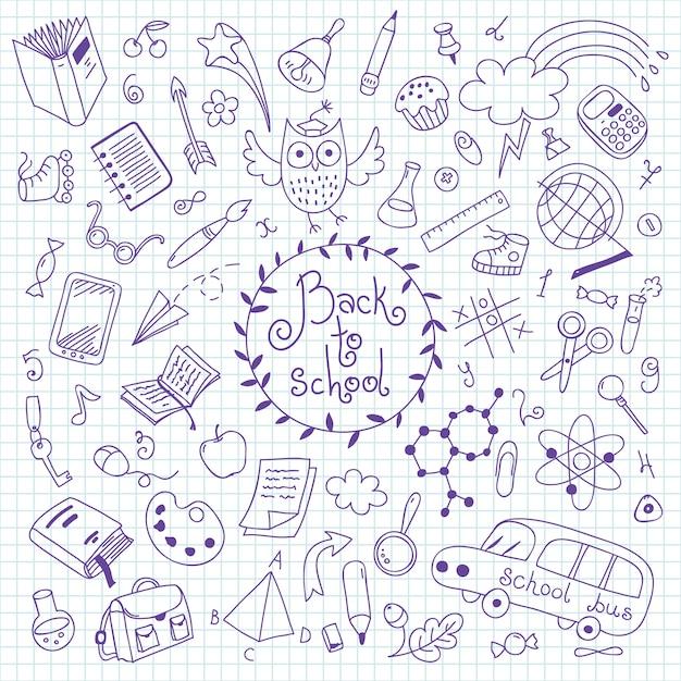 Di nuovo a scuola. insieme di elementi disegnati a mano per il design. Vettore Premium
