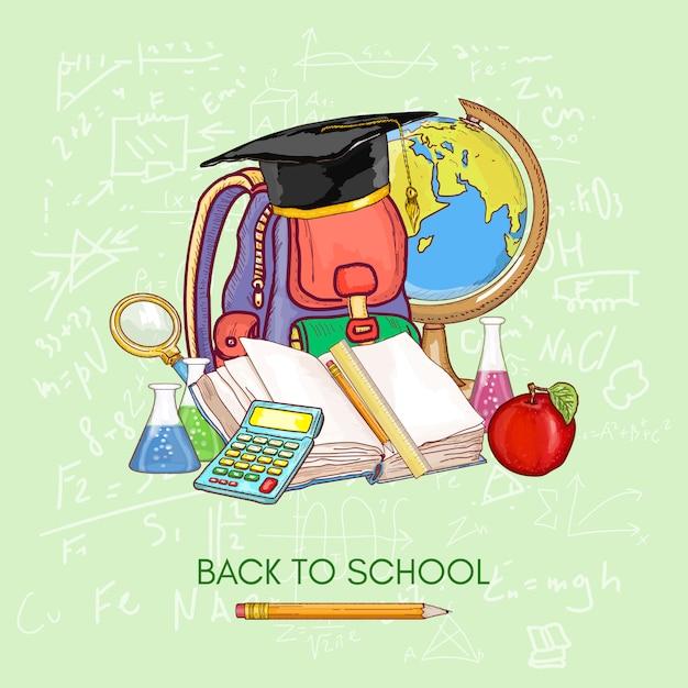 Di nuovo a scuola. materie scolastiche per l'educazione conoscenza del libro aperto Vettore Premium