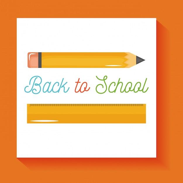 Di nuovo a scuola. rifornimenti della matita e di regola della scuola isolati Vettore gratuito