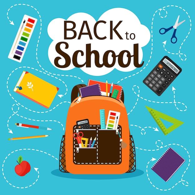 Di nuovo a scuola. zaino della scuola dei bambini con l'illustrazione di vettore dell'attrezzatura di istruzione Vettore Premium