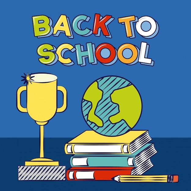 Di nuovo ai libri di scuola un'illustrazione degli elementi della scuola del trofeo Vettore gratuito