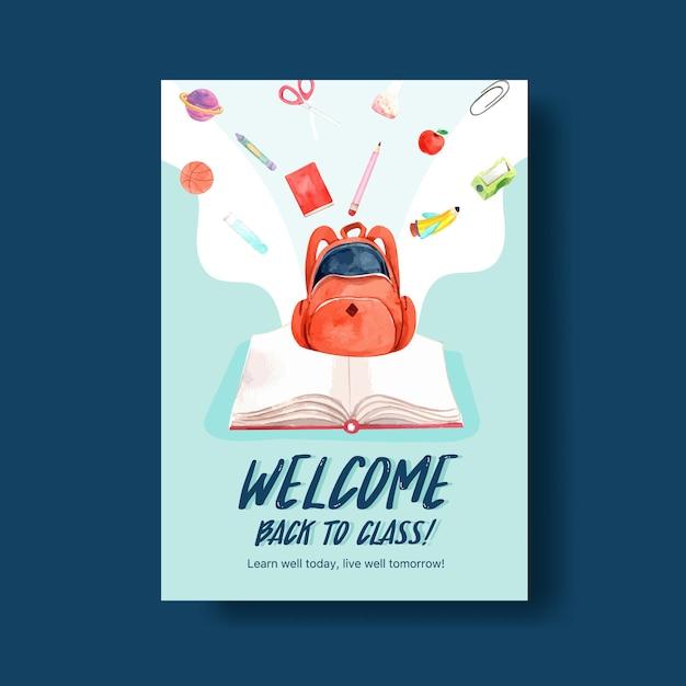 Di nuovo al concetto di scuola e istruzione con modello di poster per brochure e pubblicità dell'acquerello Vettore gratuito