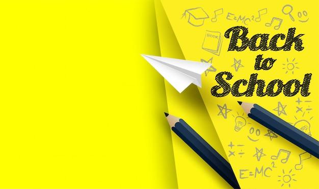 Di nuovo al disegno della scuola con le matite e attingere il fondo di carta giallo Vettore Premium