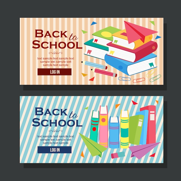 Di nuovo al libro di scuola orizzontale dell'insegna della scuola piana Vettore Premium