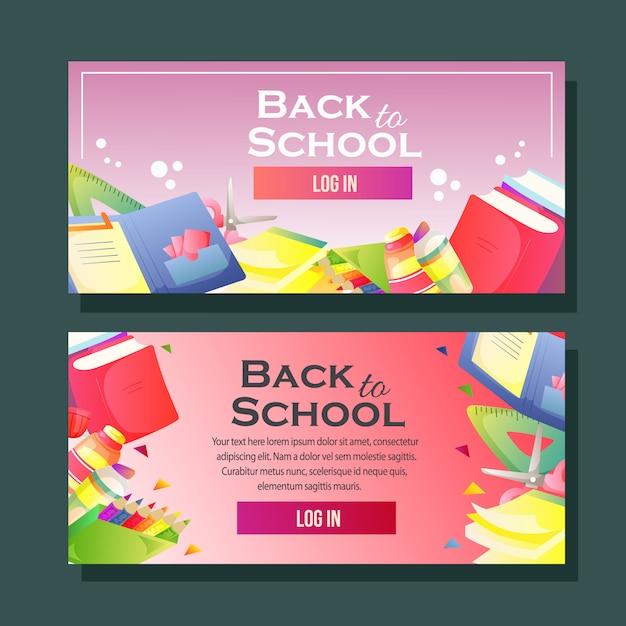Di nuovo al modello dell'insegna di scuola orizzontale Vettore Premium