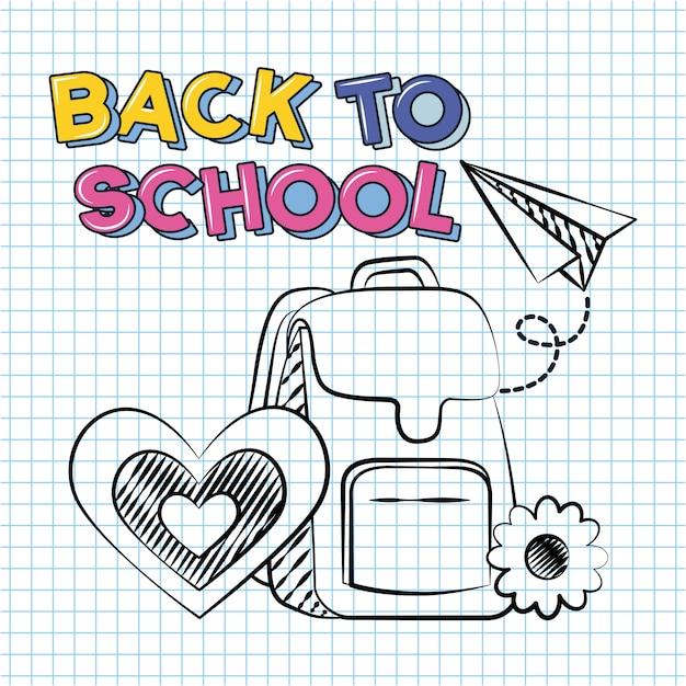 Di nuovo all'illustrazione di scarabocchio degli elementi della scuola e della scuola Vettore gratuito